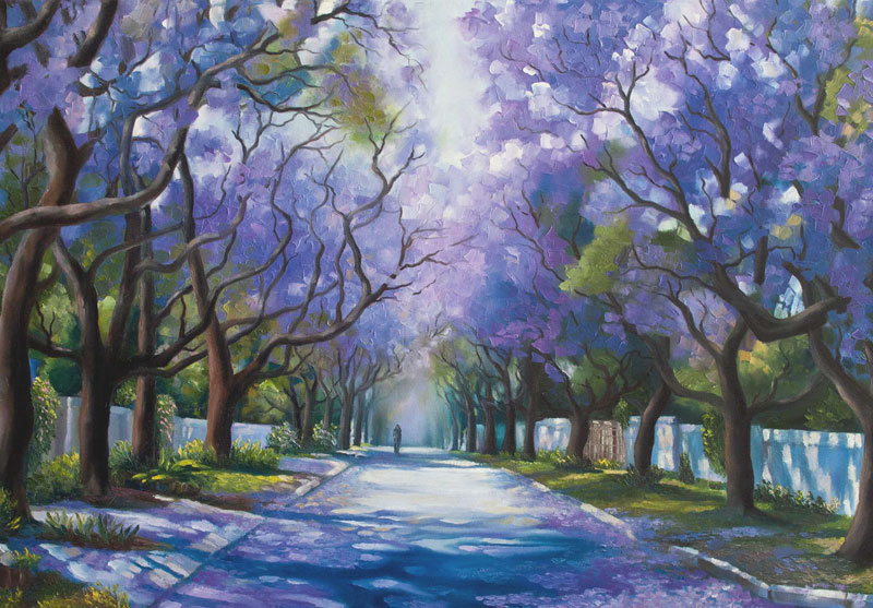 Jacaranda street-oil painting by Tanya Jacobsz