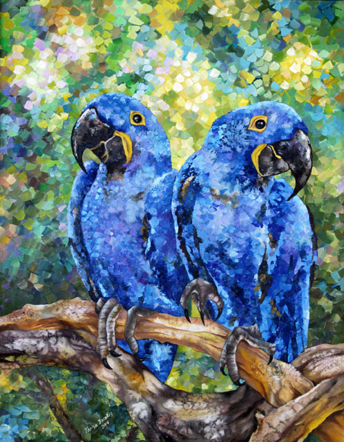 Blue Parrots by Tanya Jacobsz