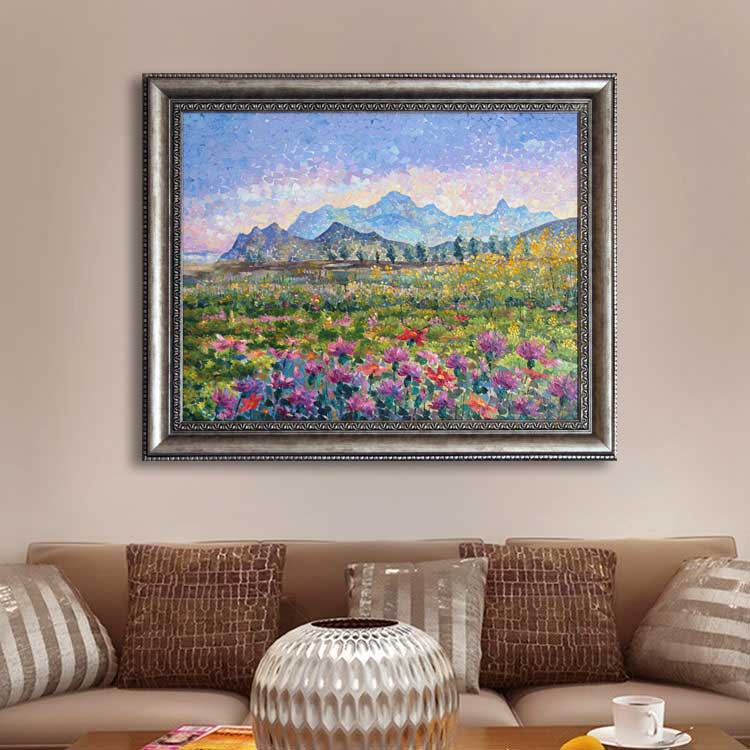 Sunset Field with Mountain View-framed
