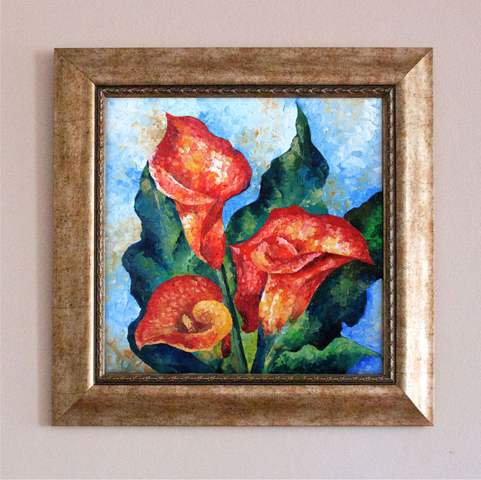 Red Callas Flower. Oil Painting.