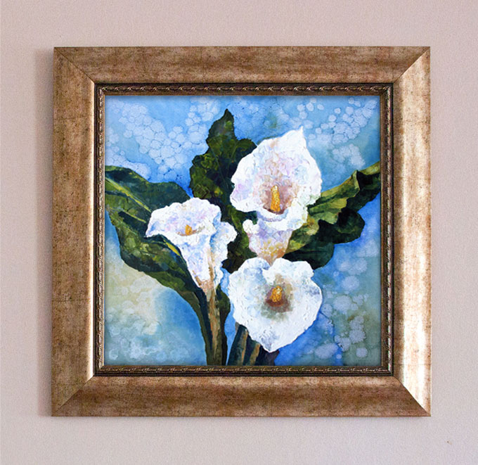White Callas Flower. Oil Painting.