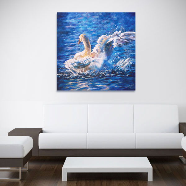 white swan on wall