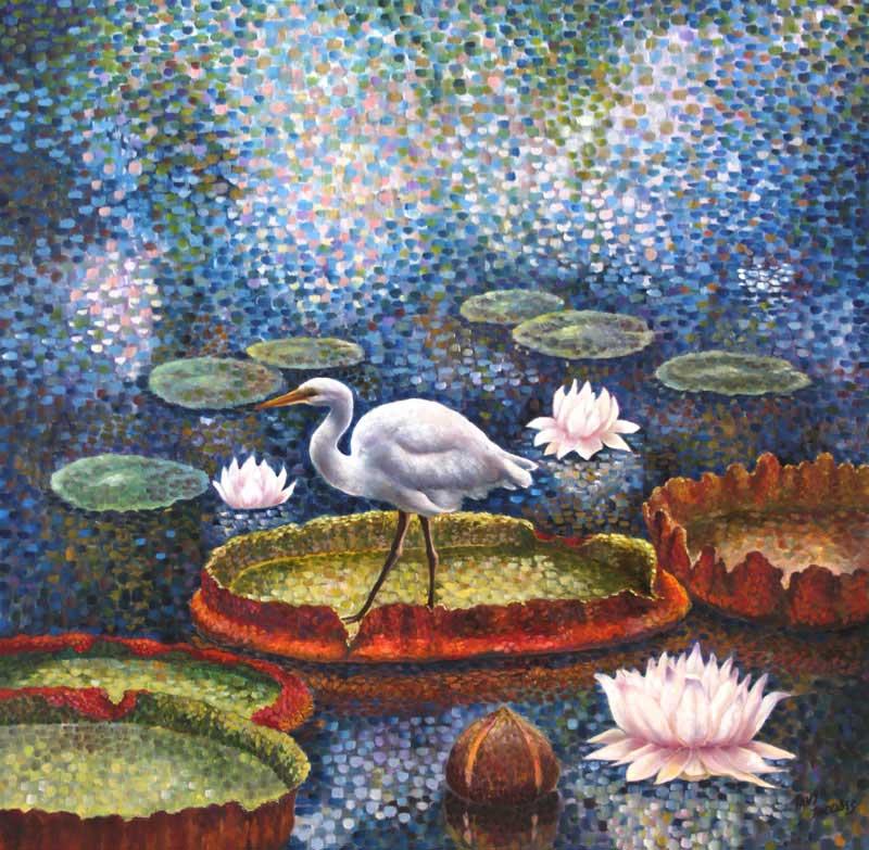 Lake heron. Water lilies