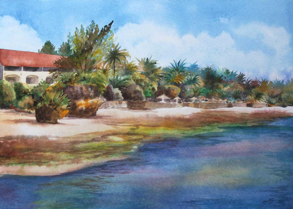 Mombasa, Kenya. Watercolor