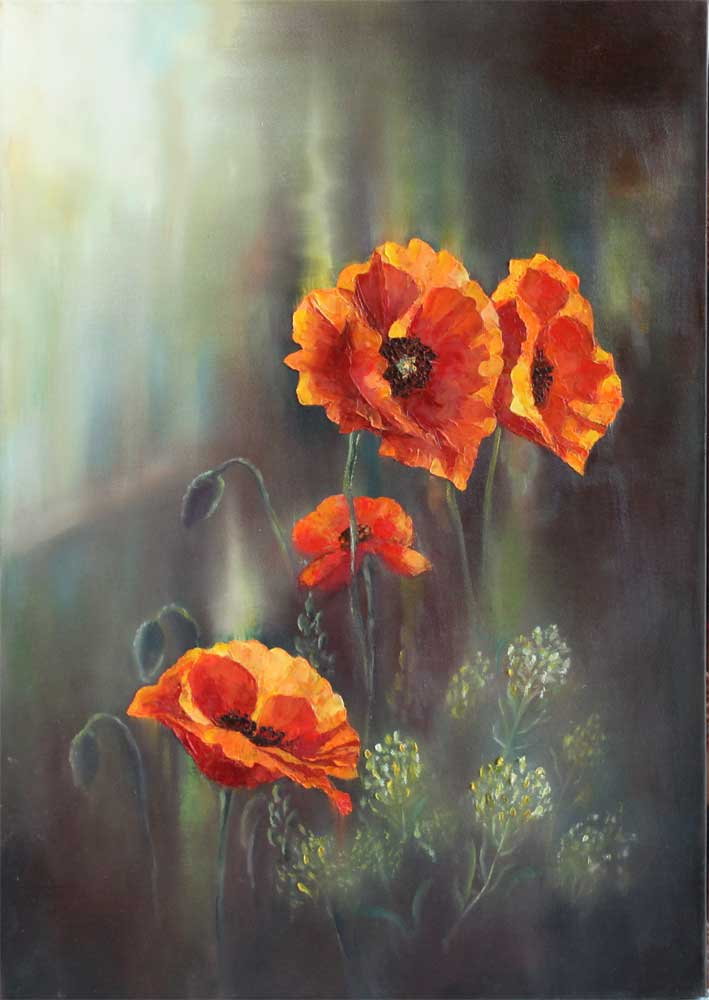 Evening Poppies. Oil Painting