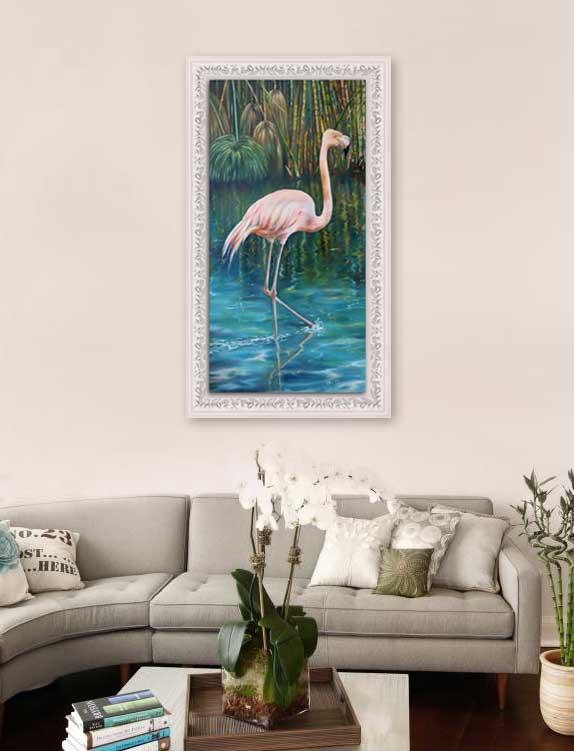 pink flamingo-framed