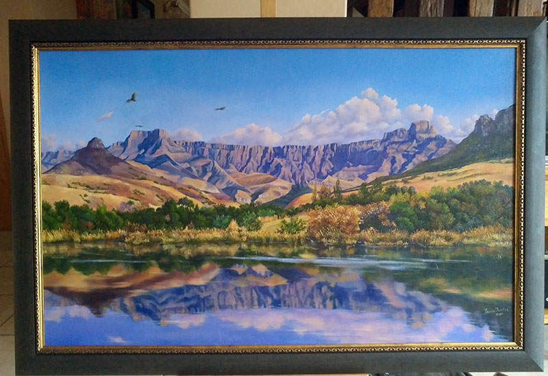 Drakensberg. Painting on order framed
