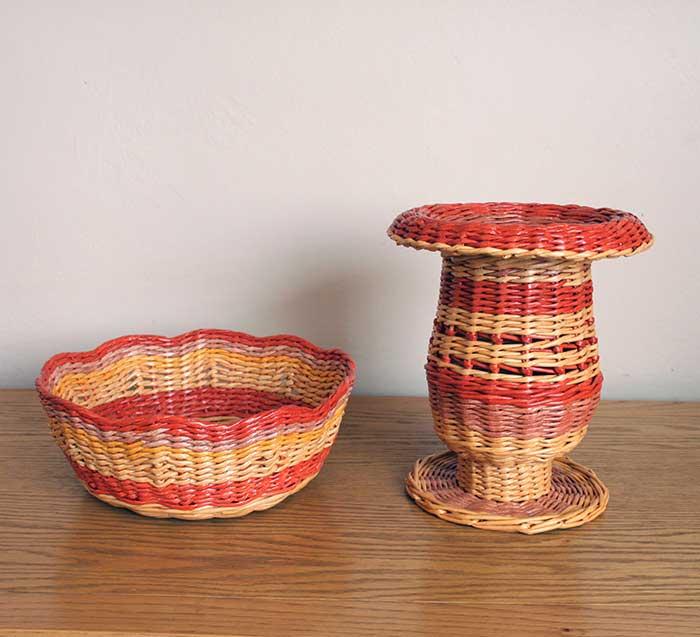 Vase and fruit basket set