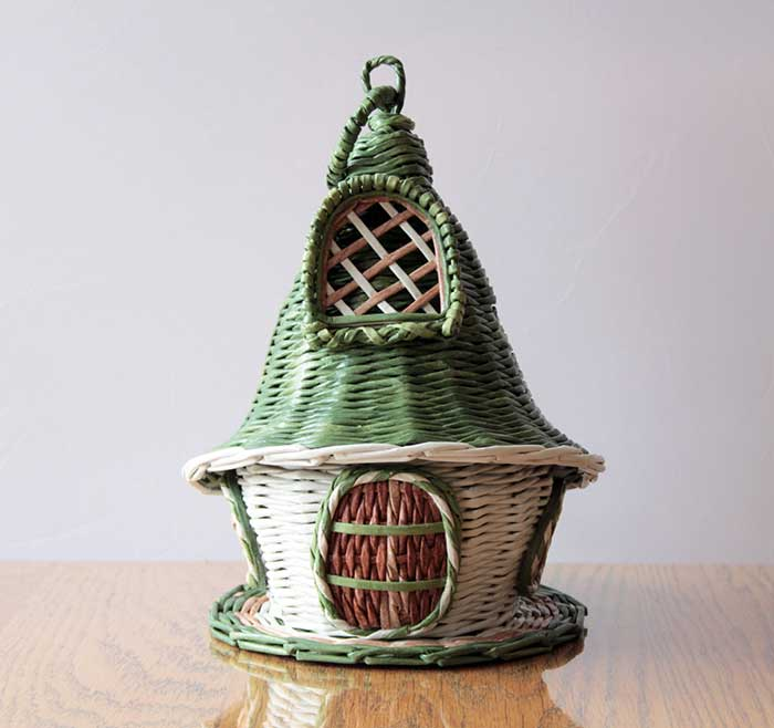 Gnome house – candy vase with green top