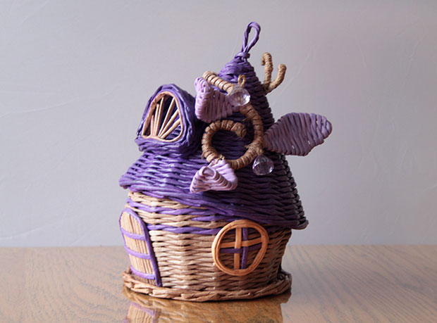 gnome house candy vase. Lilac, beige color