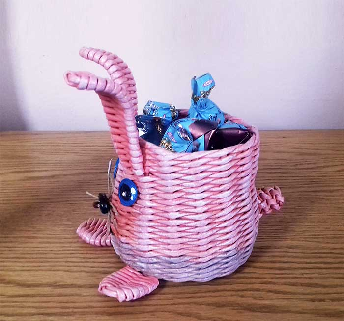 Pink Easter bunny candy vase