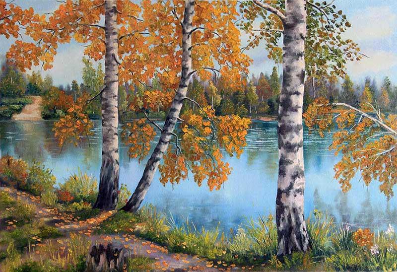 Riverside. Autumn Birches