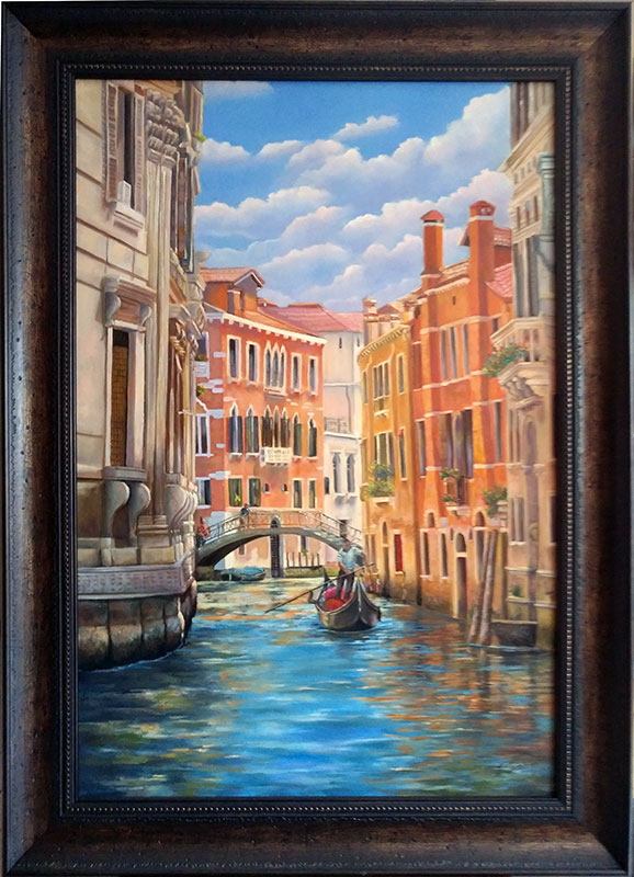 Venice water street with gondola