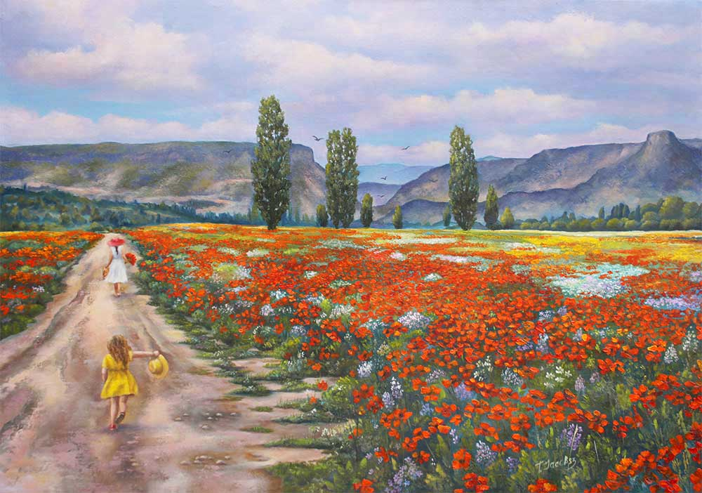 Road through a field of poppies