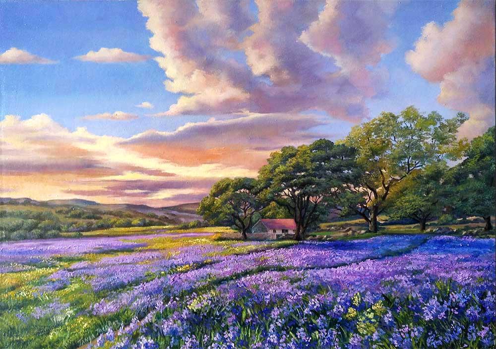 Sunset over purple field
